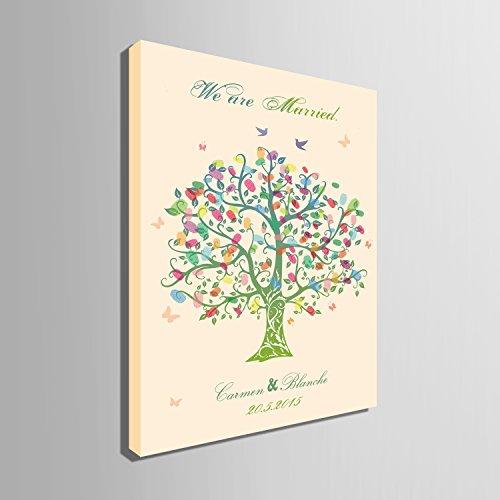 DIY (estamos Married- verde árbol) personalizado árbol de boda libro de visitas alternativa que deseen Árbol huellas dactilares firma lienzo árbol de boda regalo de bodas Decoración de la boda boda nombre (incluye 12colores de tinta), verde, 59cm*80cm/pc