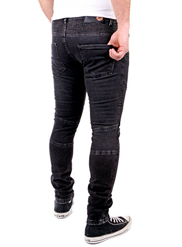 Tazzio Jogg-Jeans Herren Slim Fit Biker Jogging Jeans Hose TZ-517 Schwarz Schwarz