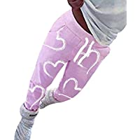fuxinhe Mujer Pantalones Deportiva Amor Impresión Elásticos Pantalones Lápiz Clásico Yoga Running Fitness Pantalones con Cordones Bolsillo Pequeña Pie Pantalones
