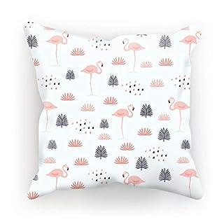 ArteCita Kissen, Bedruckt, aus Baumwolle, mit Füllung, 30 x 30 cm oder 45 x 45 cm, Flamingo, Baumwolle, weiß, 30x30cm