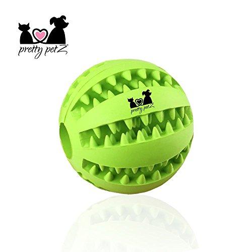 pretty petZ Hundeball mit Zahnpflege-Funktion Noppen aus Naturkautschuk | Robuster Hunde Ball | Hundespielball für Große & Kleine Hunde | Kauspielzeug für Leckerli (1 - Dental Ball Ø 7 cm, Grün)