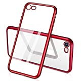 Humixx iPhone 7 Case, iPhone 8 Case, [Sparkle Series] Red TPU Soft Transparent Full Protective Case for iPhone 8, iPhone 7