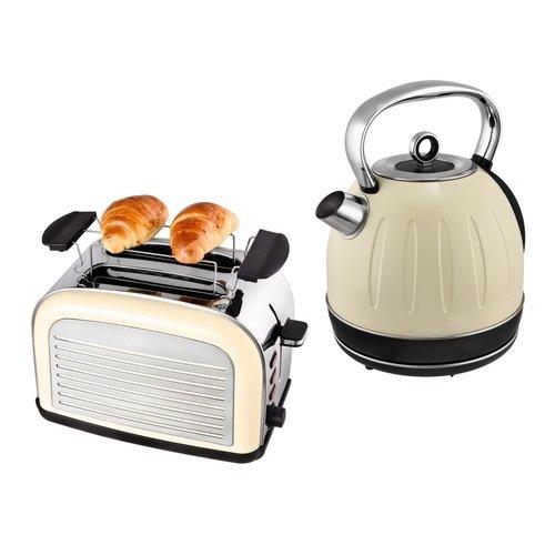 Kalorik Frühstücksset JK 2500 + TO 2500 Wasserkocher 1,7 Liter und 2-Scheiben Toaster Retro Creme-Weiß, Edelstahl
