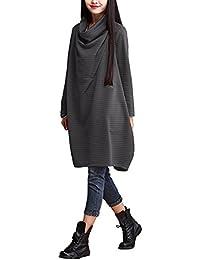 Landove Robe Oversize Femme Pull Col Benitier Manche Longue Automne Hiver Sweat Robe Unie Grande Taille Casual Sweatshirt Long Tunique Jumper Top