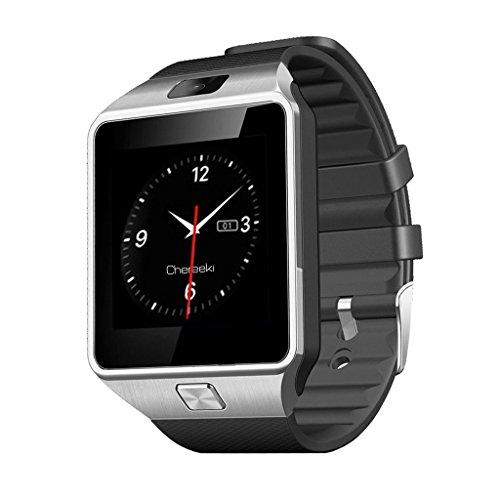 [Montre Connectée Android supporte SIM 32G SD Carte et Caméra] CHEREEKI Bluetooth 3.0 avec 1.56 pouces Écran Tactile Derniere Smartwatch avec Podomètre/Anti-perdu pour Smartphones Androïd