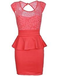 Designer Damen Abendkleid mit Spitze Schößchen Etui Kleid Neu XS S M in 11 Farben