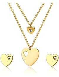 0755171713bd Vnox CZ Melocotón Corazón Collar + Corazón Stud Aretes Collar Y Conjunto  Cadena de Oro 42