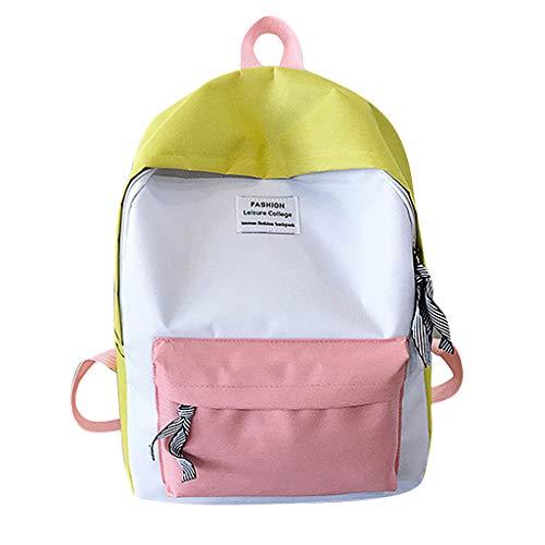 BESSKY Unisex Rucksack Paar Schultasche Reisen Wandertasche Farbblock Rucksack Sammlung leuchtende Tasche, Schulrucksack für Jungen Mädchen Teenager - Moderne Bögen Sammlung