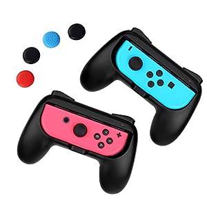 iAmer Joy-Con Grips für Nintendo Switch , Komfort Gamepad Controller Griff für Nintendo Switch Joy-Con[2 Stück]-Schwarz &4 Daumengriffen