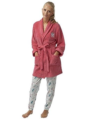 Ladies Embossed Flannel Fleece Short Robe Campa Van Applique Coral-M