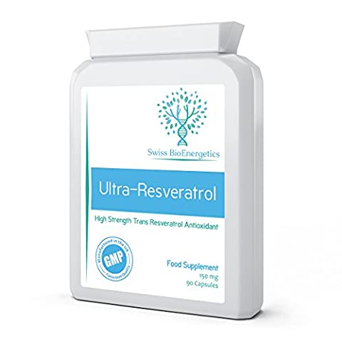 Ultra-Resveratrol 150mg 90 Capsules - High Strength 150mg Trans Resveratrol - High Potency Targeted Release Antioxidant and Anti-Ageing Supplement, same effects as Red Wine Polyphenols, Grape Seed and Blueberry