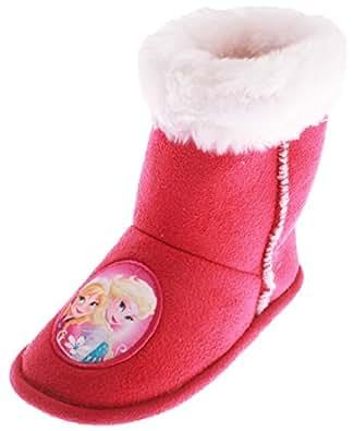 chaussons - Bottes d'intérieur enfant fille La reine des neiges Rose foncé 24 à 31 (28/29)