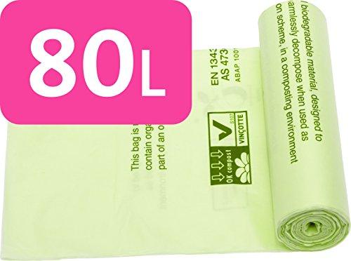 Alina - Sacchetto dell'immondizia, anche per il compostaggio dei rifiuti del giardino e della cucina, biodegradabile, con guida al compostaggio Alina [lingua italiana non garantita]; colore verde, capacità: 80 litri, 26 sacks