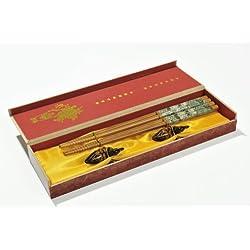 """Abacus Asiatica: """"Paradiso Qing Ming"""": Precioso set de palillos asiáticos de bambú en una caja de regalo (2 pares de palillos y soportes en forma de pato). Medidas: 28,5cm x 7,5cm x 3,2cm - CS-B-S2-01 DE"""