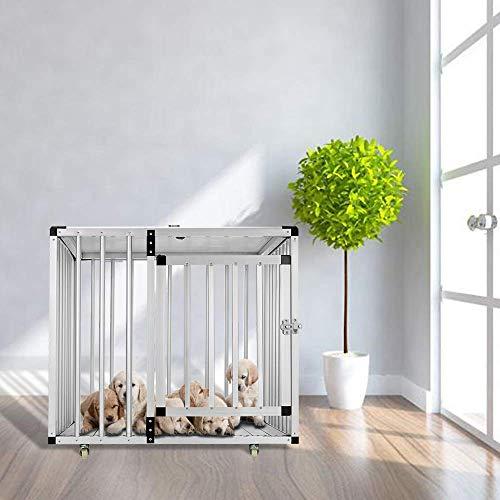 Aufun Alu Hundebox Faltbarer Hundetransportbox Reisebox Transportbox Gitterbox mit 1/2-Türig für Haustier 79 * 64 * 73CM
