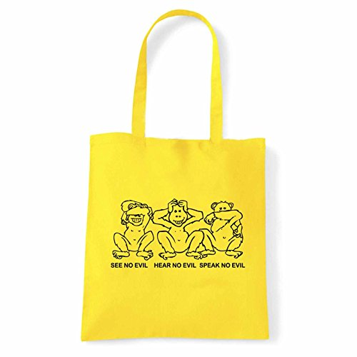 Art T-shirt, Borsa Shoulder 3 Monkeys, Shopper, Mare Giallo