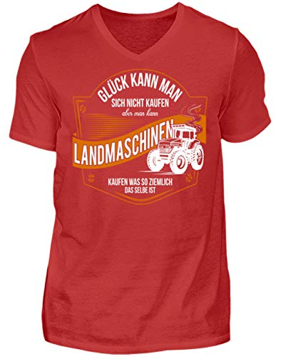 Hochwertiges Herren V-Neck Shirt - Landwirt Bauer Landwirtschaft Landwirtin Glück Landmaschinen kaufen Geschenk