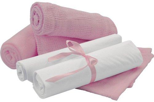 Clair de Lune-Sábana para moisés ropa de cama Bale Set de regalo, rosa, 4piezas