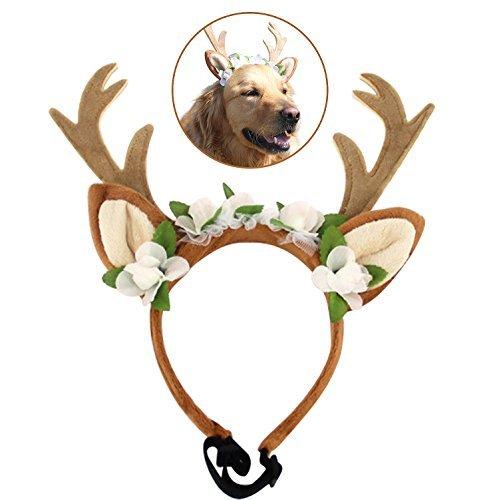 Bascolor Pet Kostüm Geweih Headbands mit Ohren Verstellbar Flexibel für Hunde Katzen Verschiedene Größe Halloween Weihnachten Festival Kostüm, S, Braun (Kostüme Verschiedene Halloween Für)