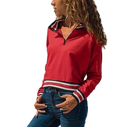 BHYDRY Frauen beiläufige Streifen Reißverschluss Patchwork Langarm Sweatshirt Bluse Tops Outwear(XX-Large,Rot)