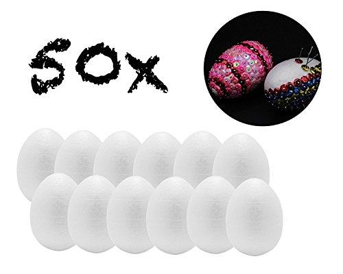 50x Styroporeier 6 cm Eier aus Styropor Plastikeier Eier Ostereier Kunststoff, Kunststoffeier, Plastikeier zum bemalen Deko Dekoration an Ostern z.b mit Pailetten und Stecknadeln