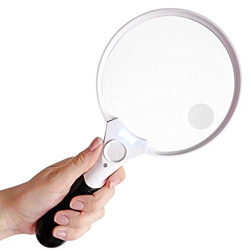 Fancii Extra große LED Handlupe mit Licht zum Lesen, 2x 4x 10x Fach Vergrößerung – Beste Jumbo Größe Beleuchtete Leselupe Vergrößerungsglas für Bücher, Zeitungen, Landkarten, Münzen, Schmuck, Hobbies - 2