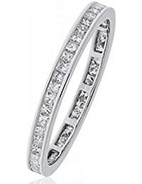 0.60CTS Certified G/VS2 Princess Cut Full Eternity Ring in 18k White Gold
