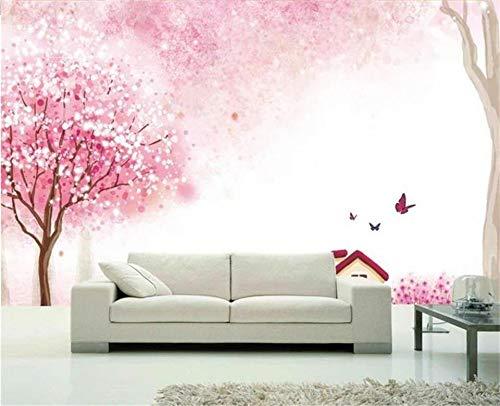 Abihua Wandbilder Benutzerdefinierte Größe 3D Fototapete Wohnzimmer Wandbild Rosa Blume Und Baum Hütte 3D Malerei Sofa Tv Hintergrundbild Für Wände 3D 250Cm X 160Cm