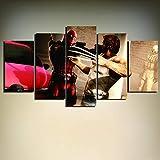 5 Morceaux Images de Toile - Moderne HD Toile Peinture Mur Art Décoration Cadre 5 Pièces Wolverine Affiche Salon Imprimé Film - moderne prêt à accrocher
