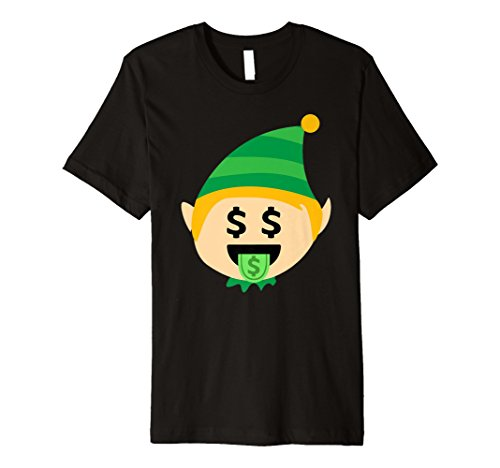 Santa Elf Emoji-T-Shirt Dollar Mund Weihnachten Funny Elf Gif
