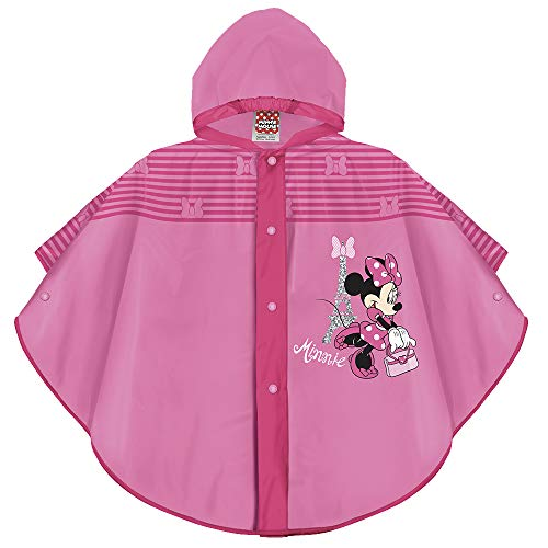 PERLETTI Minnie Waterproof Cape for Children Girls - Pink Disney Minni Rainproof Poncho with Fuchsia Edges Hood and Buttons Girl - 2 Size