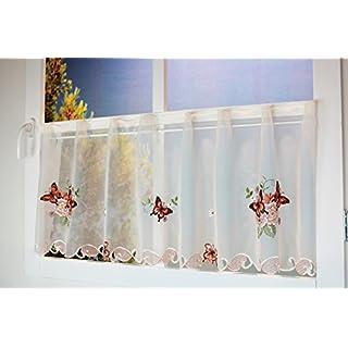 Kamaca Serie Lovely Butterflies Bestickte Schmetterlinge Und Blumen  Halbtransparent Küchengardine Panneaux EIN Schmuckstück In Jeder Küche