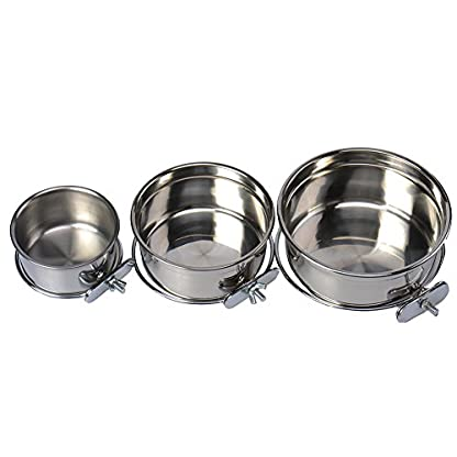 Durable Pet Puppy Dog Parrot Food Water Bowl S M L 4