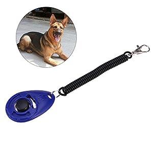 UEETEK Claviers de formation de chien avec des bracelets et des boutons de poignet, Clicker de formation pour chats de chien de compagnie (bleu foncé)