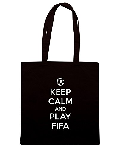 T-Shirtshock - Borsa Shopping TGAM0041 Keep Calm and play Fifa Nero