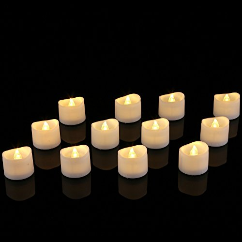 Homemory Realistic and Bright Flickering Battery Operated Flameless LED Tea Light, Pack of 12, 1.4x1.25 Inch, Electric Fake Candle in Warm White and Wave Open.