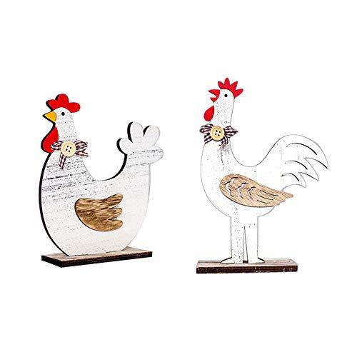 Decorazioni di pasqua-zariavo 2pcs gallo di legno gallina ornamenti regali artigianali