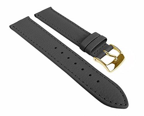 Eulit Fancy Classic Ersatzband Uhrenarmband Rindsleder Band Grau 25457G, Stegbreite:16mm