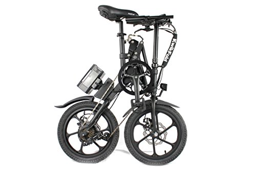 KwikFold™ Xite-3 Bicicletta pieghevole Bici Bicicletta elettrica pieghevole 16 pollici pieghevole ruota SHIMANO 7 (Nero)