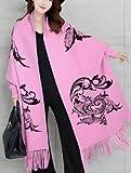 CRL Herbst und Winter Schal weibliche Umhang mit Ärmeln Fledermaus Ärmel Gestrickte Schal Big Flow Warmer Student Paar Lätzchen Quaste Schal,Rosa