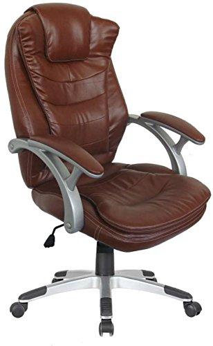 Luxus Chefsessel Drehstuhl Bürostuhl Schreibtischstuhl Sessel Stuhl höhenverstellbar Wippfunktion braun (C370AB)