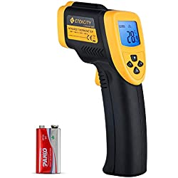 Etekcity 800 Thermomètre Infrarouge sans Contact Laser de -50°C à 750°C, Large Plage de Mesure, Précision Haute, Arrêt Automatique, Ecran LCD Rétroéclairé, Pile fournie, Jaune