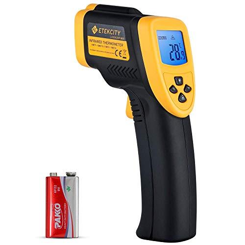 ETEKCITY 800 Termómetro Infrarrojo Digital Láser IR Sin Contacto, Pistola de Temperatura -50 ℃ a 750 ℃, Amarrillo/Negro