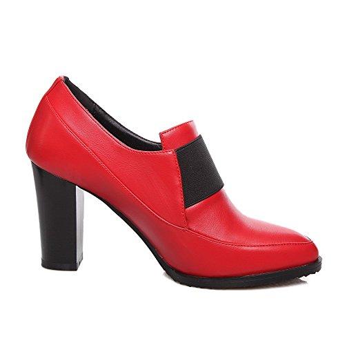 VogueZone009 Damen Pu Leder Hoher Absatz Spitz Zehe Elastic Band Pumps Schuhe Rot