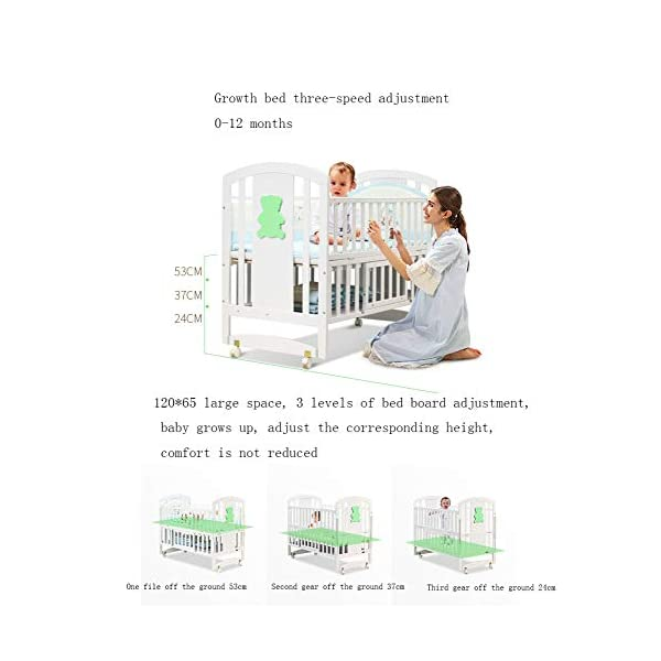 QINYUN Crib Solid Wood Multi-function Baby Cradle Bed Newborn Splicing Big Bed With Roller QINYUN 1. The crib is a safe, comfortable and easy to use bed that enhances the child's newly discovered independence. 2. Storage function - increase the storage space, convenient for the treasure mother to store the baby toy splicing storage board, and it is more convenient to change the table later. 3. It can give the baby enough security and let the baby enjoy a comfortable sleep. You don't have to worry about your baby's sleep quality anymore. 3