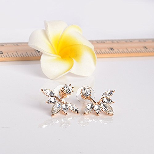 Mahi Gold Plated Trendy Dual Wear Solitaire Stud And Leaf Drop Earrings With Crystal Er1109429G For Women