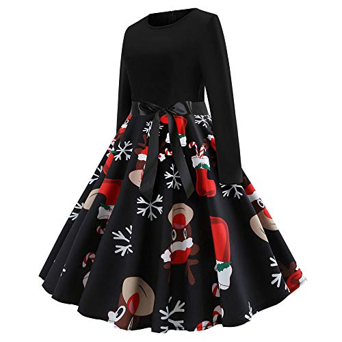 Weihnachten Kleider Damen UFODB Frauen Weihnachtskleid Kleid Swing Taille Slim Cocktailkleid Retro Schwingen Party Partykleid Festlich Christmas Dress - 3