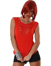 Jela London Femmes Top shirt de blouses blouse chemise transparente T-shirt sans manches Pas de fermeture Trendy