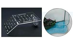 Sali-scendi per tartarughe - Piattaforma in plexiglass, isola con ventosa da inserire in tartarughiera (20x12 cm)