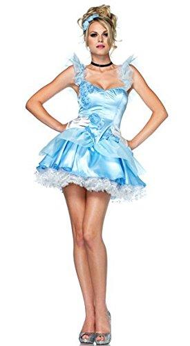 Gorgeous Cinderella -Märchen -Rollenspiel -Uniformen blauen Prinzessin Kleid Halloween Königin Zimmerreinigung